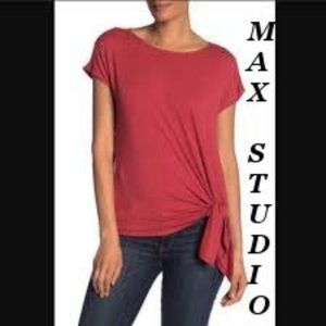 ❤️ Max Studio Red Knotted Hem Jersey Tee Size XS
